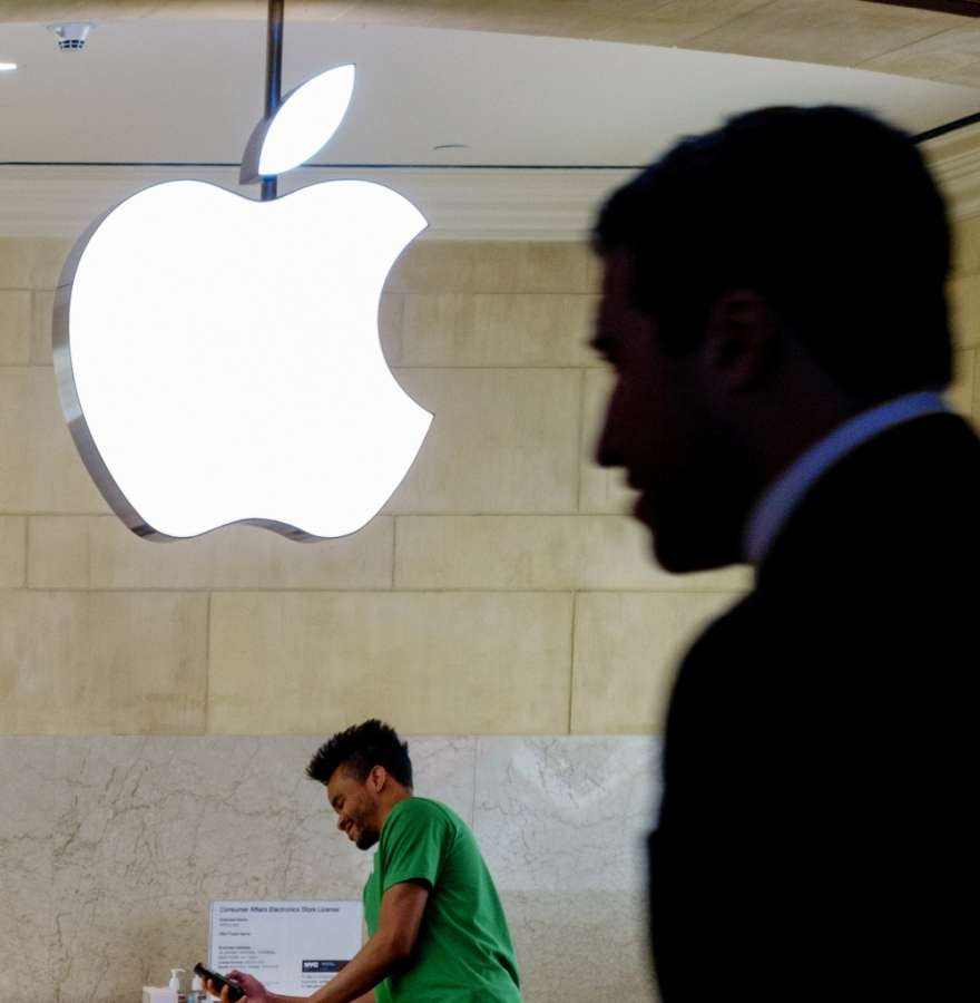 NEW YORK, April 28, 2016 (Xinhua) -- A man walks into the Apple store at the Grand Central Terminal in New York, United States, April 28, 2016. Apple Inc. on Tuesday released fiscal results for the second quarter of 2016, which showed the first year-over- by .