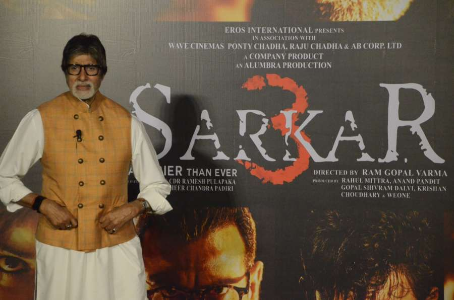 """Mumbai: Actor Amitabh Bachchan during the trailer launch of his upcoming film """"Sarkar 3"""" in Mumbai on March 1, 2017. (Photo: IANS) by ."""