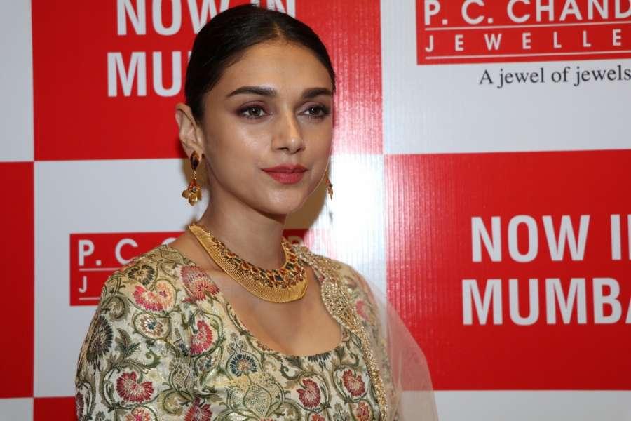 Mumbai: Actress Aditi Rao Hydari during the pre launch preview of Chandra Jewellers showroom in Mumbai, on June 17, 2016. (Photo: IANS) by .