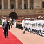 New Delhi: The President of the State of Palestine Mahmoud Abbas inspecting the Guard of Honour, at the Ceremonial Reception, at Rashtrapati Bhavan, in New Delhi on May 16, 2017. (Photo: IANS/PIB) by .