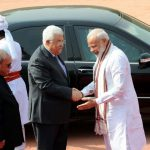New Delhi: President Pranab Mukherjee and Prime Minister Narendra Modi with Palestine President Mahmoud Abbas at the ceremonial reception at Rashtrapati Bhavan in New Delhi on May 16, 2017. (Photo: IANS) by .