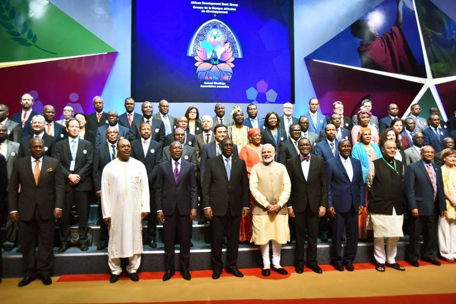 New Delhi: Prime Minister Narendra Modi and Finance Minister Arun Jaitley with foreign delegates at the 52nd African Development Bank Annual meetings, in Gandhinagar, Gujarat on May 23, 2017. (Photo: IANS/PIB) by .