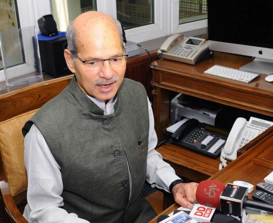 New Delhi: Anil Madhav Dave interacts with press after assuming charge as Minister of State for Environment, Forest and Climate Change (Independent Charge), in New Delhi on July 6, 2016. (Photo: IANS/PIB) by .