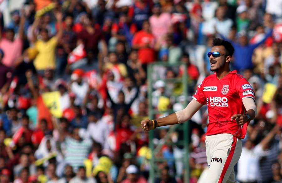 Mohali: Axar Patel of Kings XI Punjab in action during an IPL 2017 match between Kings XI Punjab and Delhi Daredevils at Punjab Cricket Association IS Bindra Stadium in Mohali on April 30, 2017. (Photo: Surjeet Yadav/IANS) by .