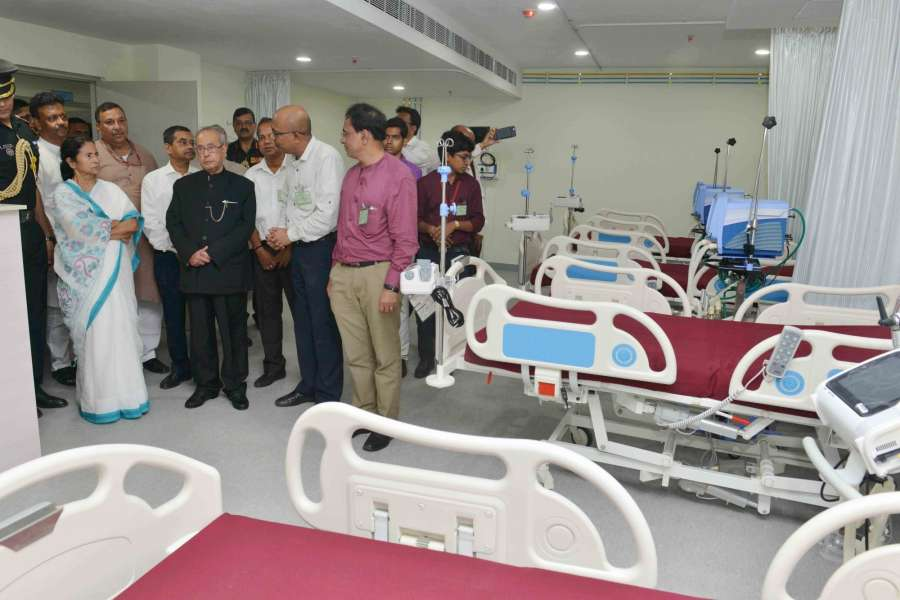 Sonarpur: President Pranab Mukherjee visits Indian Institute of Liver and Digestive Sciences in Sonarpur, West Bengal on May 18, 2017. Also seen West Bengal Chief Minister Mamata Banerjee. (Photo: IANS/RB) by .