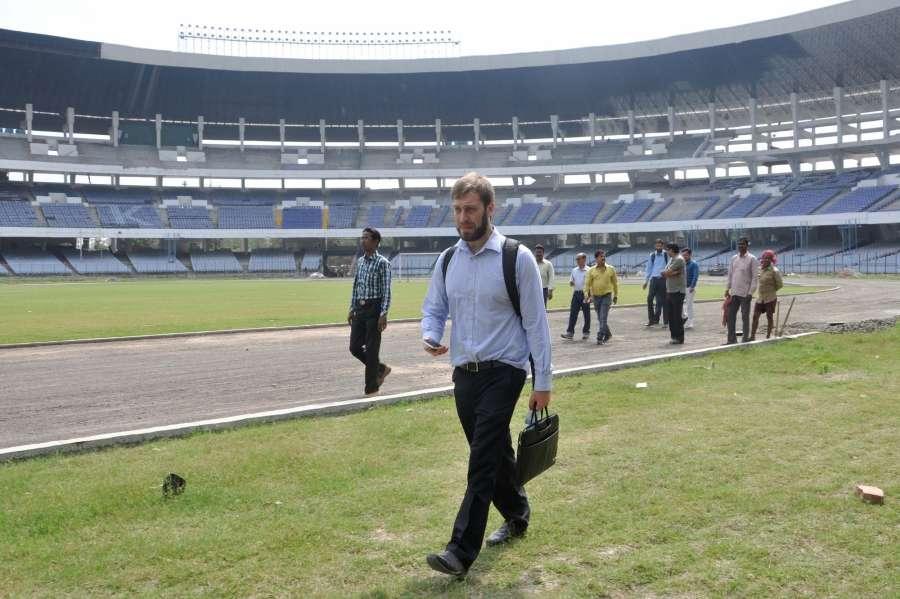 Kolkata: FIFA U-17 World Cup India 2017 Tournament Director Javier Ceppi inspects Salt Lake Stadium in Kolkata on Feb 23, 2017. (Photo: Kuntal Chakrabarty/IANS) by .