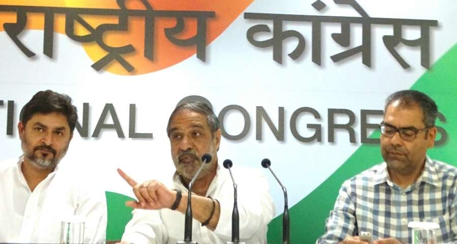 New Delhi: Congress leader Anand Sharma addresses a press conference regarding Modi's three years of Governance in New Delhi on May 25, 2017. (Photo: IANS) by .