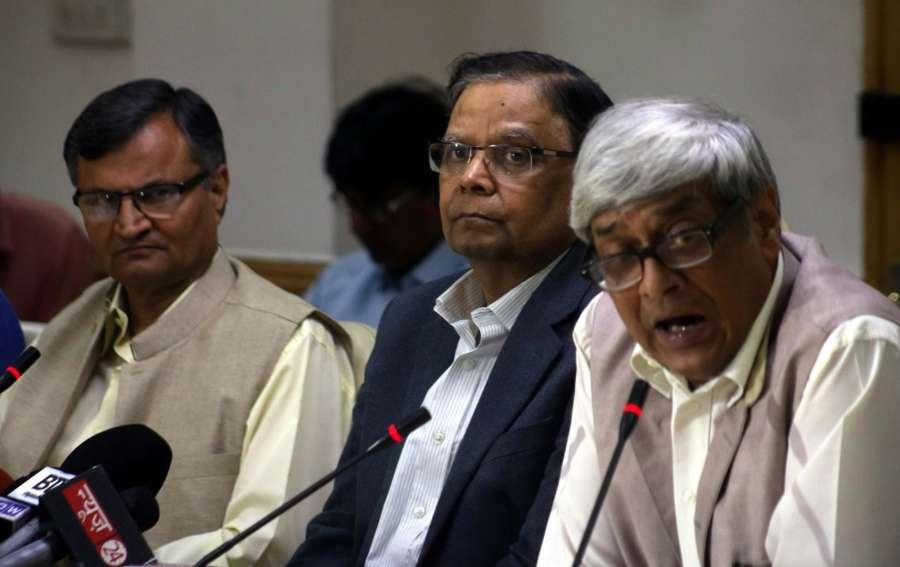 New Delhi: NITI Aayog member, Prof Bibek Debroy addresses a press conference in New Delhi on April 25, 2017. Also seen NITI Aayog vice chairman Arvind Panagariya. (Photo: IANS) by .