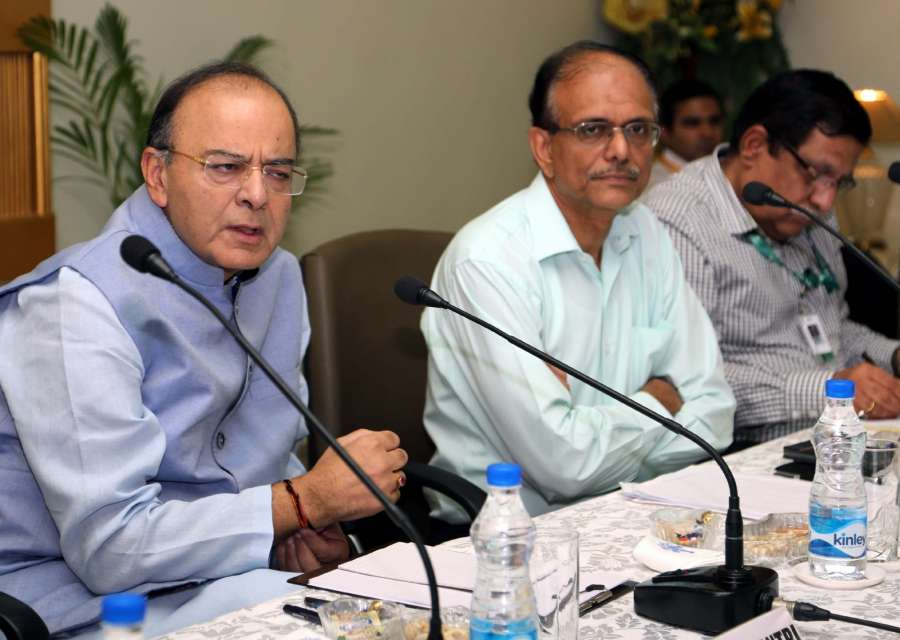 New Delhi: Union Minister for Finance, Corporate Affairs and Defence Arun Jaitley chairs an interactive meeting on strategic partnerships with the industry representatives, in New Delhi on May 11, 2017. Also seen Defence Secretary G. Mohan Kumar. (Photo: IANS/PIB) by .
