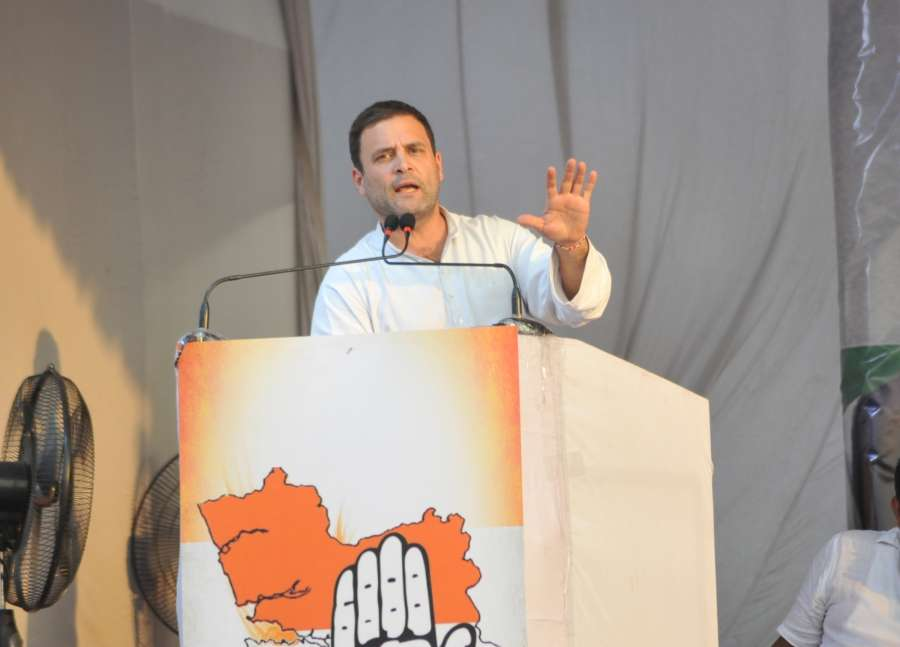 Mapusa: Congress Vice President Rahul Gandhi addresses during a public rally at Mapusa in poll bound Goa on Jan 30, 2017. (Photo: IANS) by .