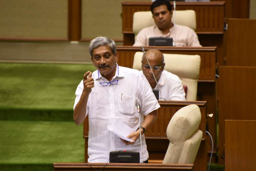 Panaji: Goa Chief Minister Manohar Parrikar addresses at the state assembly in Panaji on May 9, 2017. The Goa assembly on Tuesday unanimously passed the Goods and Services Tax bill after a brief discussion. (Photo: IANS) by .
