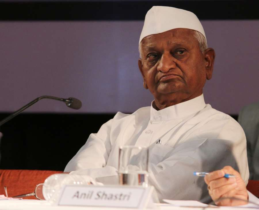 "New Delhi: Social activist Anna Hazare at the launch of the book - ""Lal Bahadur Shastri - Netritva Ke Sutra"" in New Delhi, on Feb 17, 2016. (Photo: IANS) by ."
