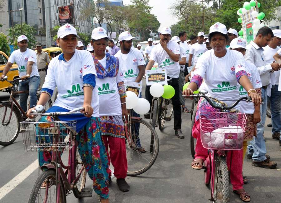 "Kolkata: People participate in a cycle rally on ""World Health Day"" in Kolkata on April 7, 2017. (Photo: IANS) by ."
