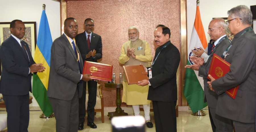 Gandhinagar: Prime Minister Narendra Modi and President of Rwanda Paul Kagame witness the exchange of an MoU on Forensic Sciences cooperation and Rwanda's accession to the International Solar Alliance, on the sidelines of the Vibrant Gujarat Global Summit 2017, in Gandhinagar, on Jan 10, 2017. (Photo: IANS/PIB) by .