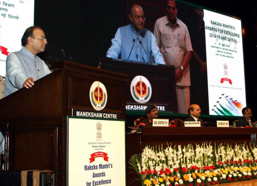 New Delhi: Union Minister for Finance, Corporate Affairs and Defence Arun Jaitley addresses at the Raksha Raksha Mantri's Awards function for Excellence for the years 2014-15 and 2015-16, in New Delhi on May 30, 2017. (Photo: IANS/PIB) by .