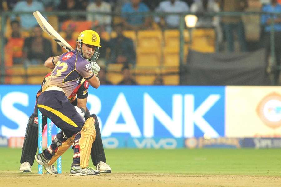 Bengaluru: Gautam Gambhir of Kolkata Knight Riders in action during IPL 2017 second qualifier match between Kolkata Knight Riders and Sunrisers Hyderabad at M Chinnaswamy Stadium in Bengaluru on May 17, 2017. (Photo: Dhananjay TK/IANS) by .