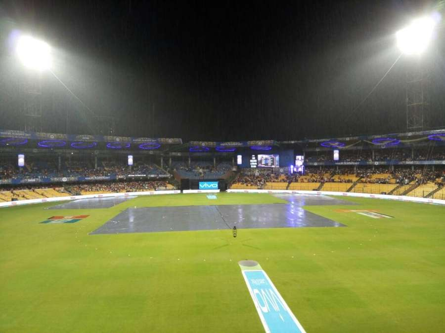 Bengaluru: Rains interrupt IPL 2017 second qualifier match between Kolkata Knight Riders and Sunrisers Hyderabad at M Chinnaswamy Stadium in Bengaluru on May 17, 2017. (Photo: Dhananjay TK/IANS) by .