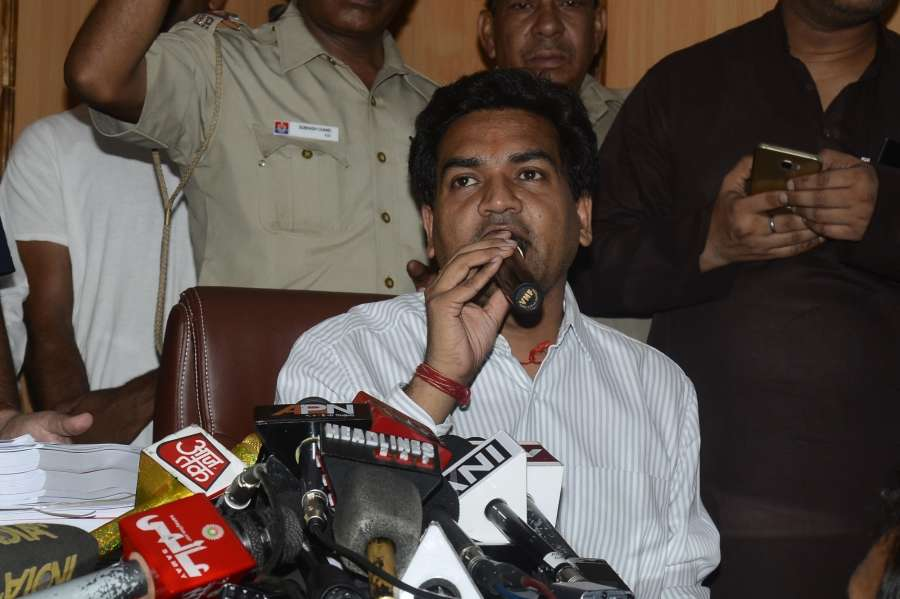 New Delhi: Sacked Delhi Minister Kapil Mishra addresses a press conference in New Delhi on May 14, 2017. Mishra, is on hunger strike since Wednesday demanding that Chief Minister Arvind Kejriwal should reveal the source of funding of the foreign trips of five Aam Aadmi Party leaders.. (Photo: IANS) by .
