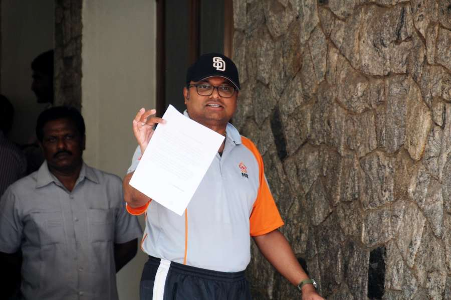 Chennai: Karti Chidambaram at his residence in Chennai on May 16, 2017. Karti Chidambaram is facing money laundering probe linked to the dubious Aircel-Maxis deal. (Photo: IANS) by .