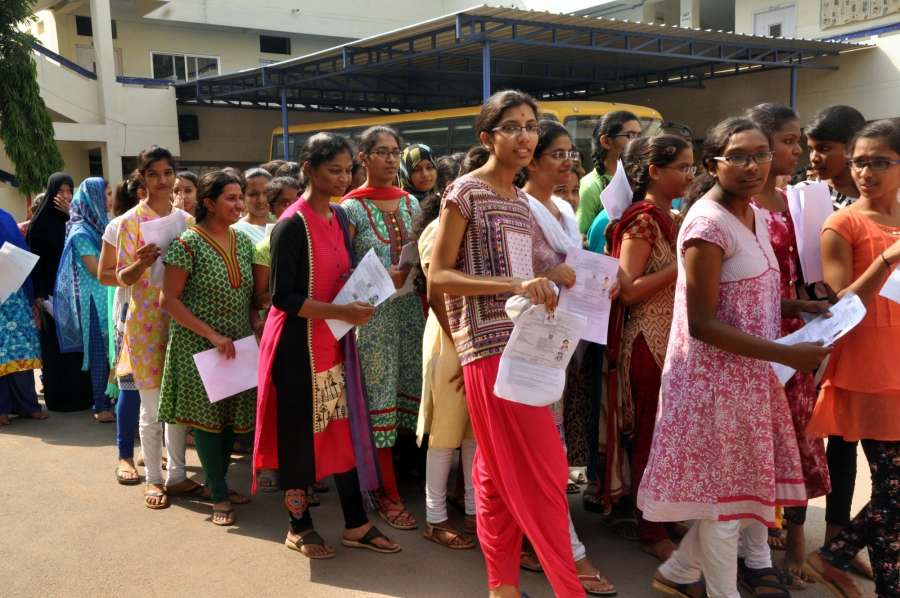 Hyderabad: Students appearing for National Eligibility and Entrance Test (NEET) at an exam centre in Hyderabad, on May 7, 2017. (Photo: IANS) by .