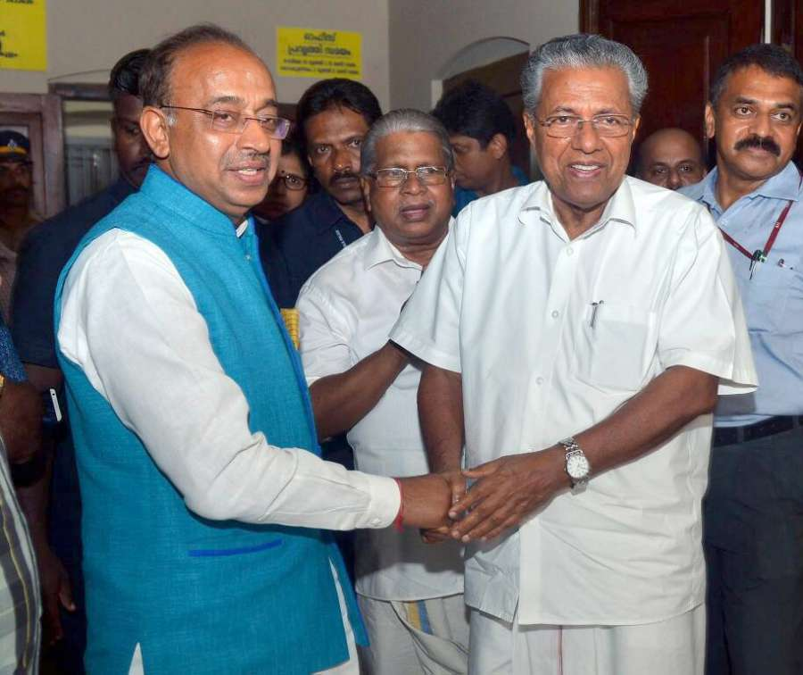 Kochi: Minister of State for Youth Affairs and Sports (I/C), Water Resources, River Development and Ganga Rejuvenation Vijay Goel meets Kerala Chief Minister Pinarayi Vijayan to discuss about the preparations of FIFA U-17 World Cup in Kochi on April 29, 2017. (Photo: IANS/PIB) by .