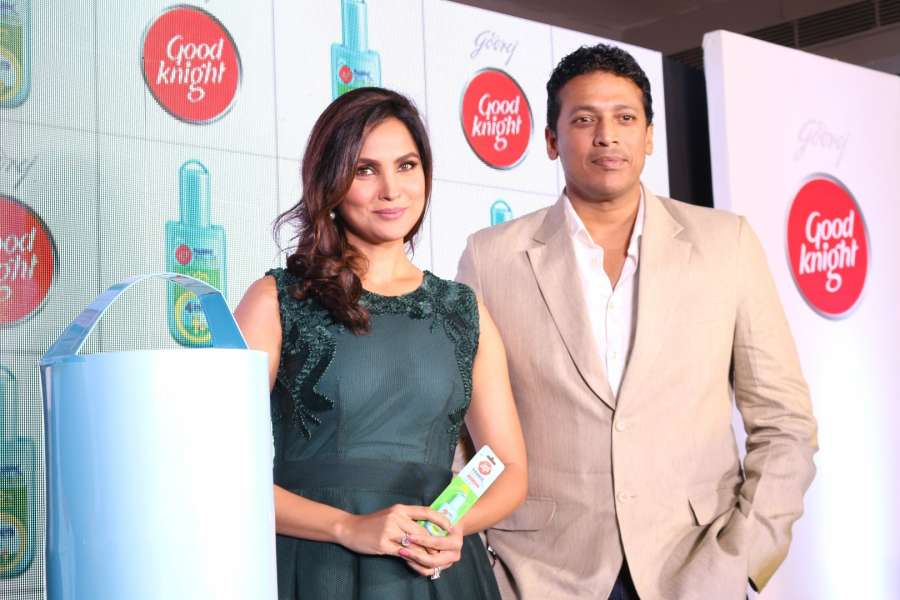 Mumbai: Actor Lara Dutta along with her husband and tennis player Mahesh Bhupathi during the launch of new range of Good Night Knight home repellents, in Mumbai, on Sept 29, 2016. (Photo: IANS) by .