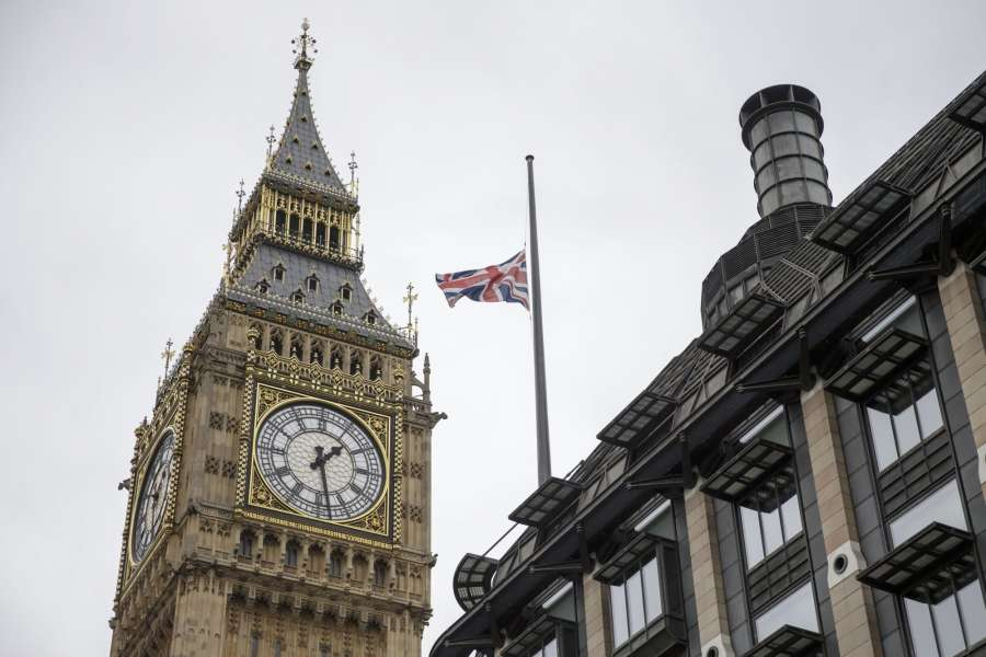LONDON, May 23, 2017 (Xinhua) -- Flag flies at half mast above Portcullis House next to the Houses of Parliament after Manchester Arena bombing, in London, Britain, on May 23, 2017.(Xinhua/Tim Ireland/IANS) (dtf) by .
