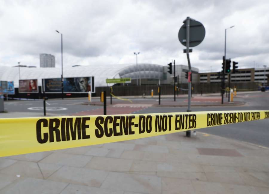 MANCHESTER, May 23, 2017 (Xinhua) -- Police secure the Manchester Arena in Manchester, Britain, May 23, 2017. A total of 22 people, including children, were killed and 59 others injured in a suicide terror attack at Manchester Arena Monday night, police announced on Tuesday. (Xinhua/Han Yan/IANS) (dtf) by .