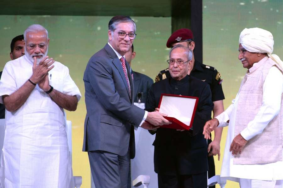 New Delhi:President Pranab Mukherjee and Prime Minister Narendra Modi during a programme organised to celebrate 90th anniversary celebration of Essel Group at Indira Gandhi Indoor Stadium in New Delhi on May 14, 2017. (Photo: IANS/RB) by .