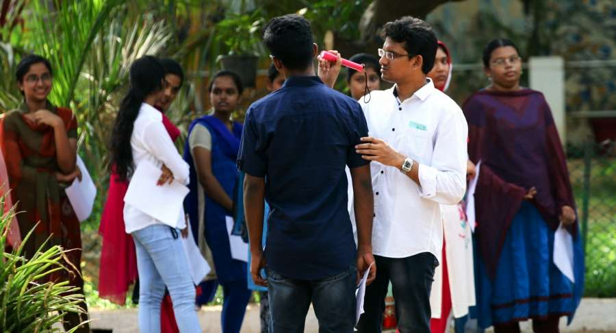 Chennai: Students appearing for National Eligibility and Entrance Test being frisked before entering exam hall in Chennai, on May 7, 2017. (Photo: IANS) by .