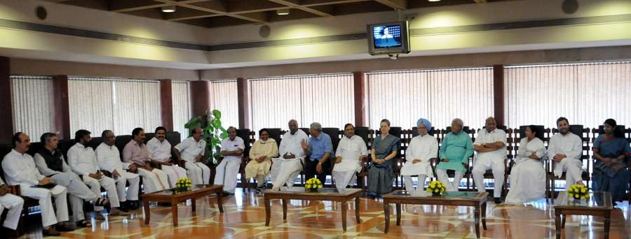New Delhi: BSP chief Mayawati, Leader of the Congress parliamentary party in Lok Sabha Mallikarjun Kharge, CPI-M General Secretary Sitaram Yechury, JDU leader Sharad Yadav, Former Prime Minister Dr. Manmohan Singh, RJD supremo Lalu Yadav, NCP chief Sharad Pawar and Trinamool Congress chief Mamata Banerjee during a luncheon meeting convened by Congress President Sonia Gandhi as part of efforts to find a consensus candidate for the presidential election in Parliament House on May 26, 2017. (Photo: IANS) by .
