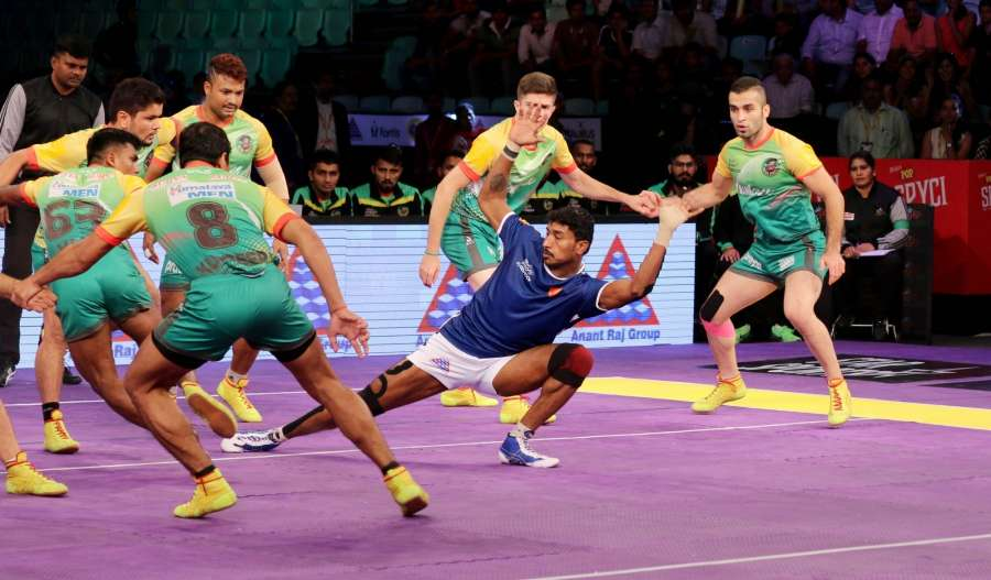 New Delhi: Players in action during a Pro Kabaddi League 2016 match between Dabang Delhi and Patna Pirates in New Delhi, on July 25, 2016. (Photo: IANS) by .