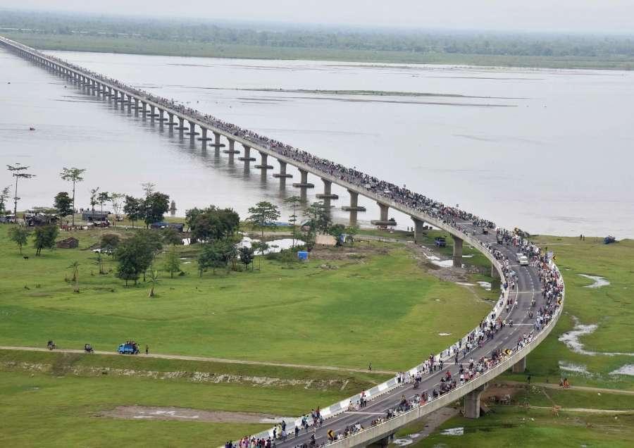 Dibrugarh: An aerial view of the Dhola-Sadiya bridge across River Brahmaputra. (Photo: IANS/PIB) by .