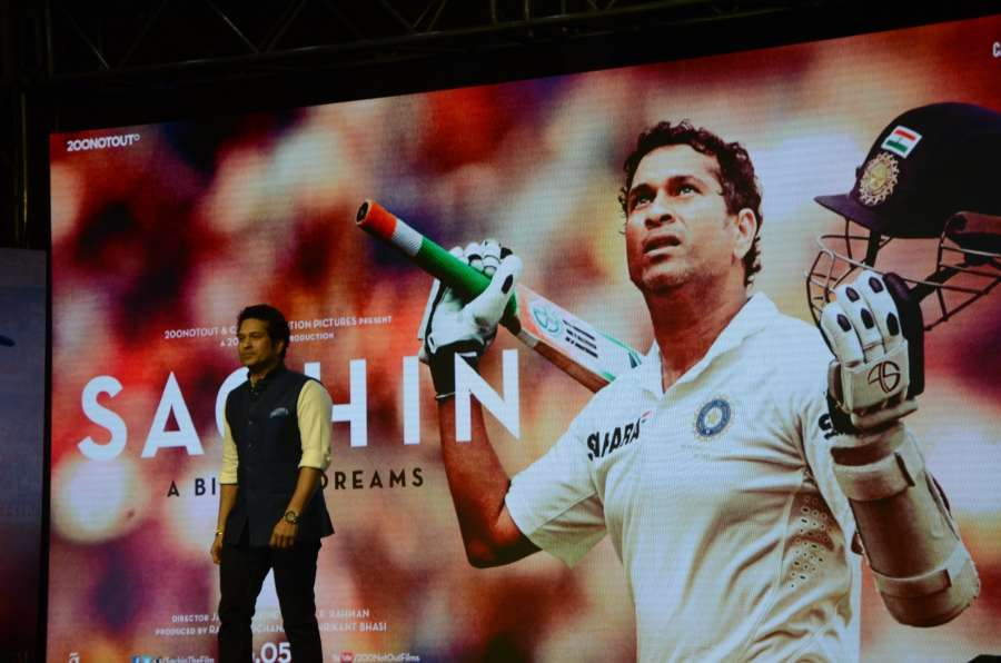 "Mumbai: Cricket legend Sachin Tendulkar at the music launch of the film ""Sachin: A Billion Dreams"" in Mumbai, on May 8, 2017. (Photo: IANS) by ."