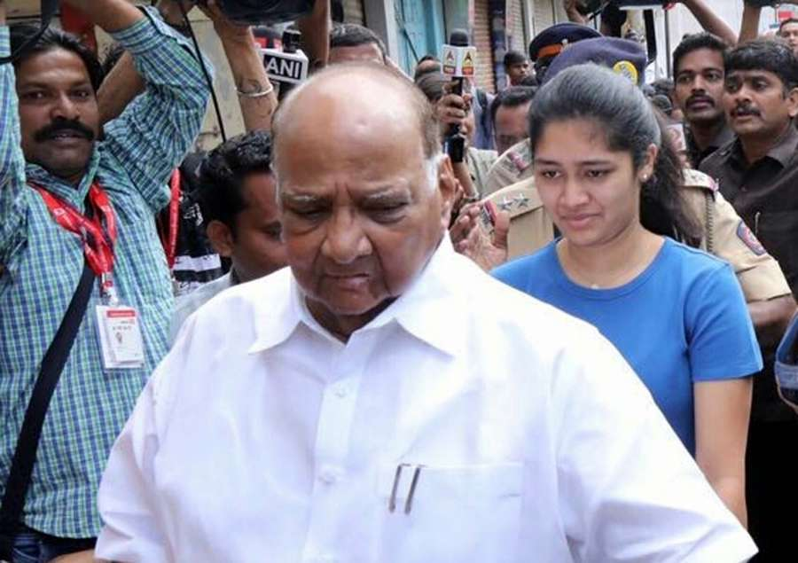 Mumbai: NCP chief Sharad Pawar comes out after casting his vote during BMC Polls in Mumbai on Feb 21, 2017. (Photo: IANS) by .