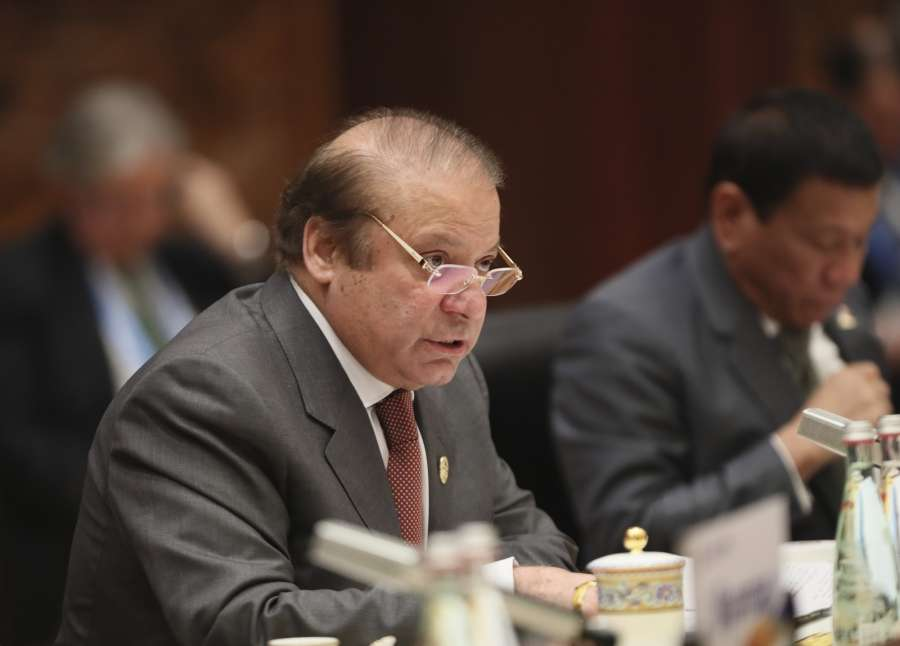 BEIJING, May 15, 2017 (Xinhua) -- Pakistani Prime Minister Nawaz Sharif speaks at the Leaders' Roundtable Summit of the Belt and Road Forum (BRF) for International Cooperation at Yanqi Lake International Convention Center in Beijing, capital of China, May 15, 2017. (Xinhua/Lan Hongguang/IANS) by .
