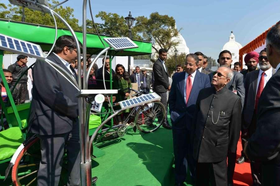 New Delhi: President Pranab Mukherjee during inauguration of the Solar Power Exhibition at Rashtrapati Bhavan on Feb 10, 2017. (Photo: IANS/RB) by .
