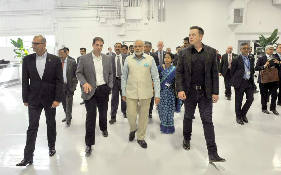 San Jose (US): Prime Minister Narendra Modi with Tesla Motors CEO Elon Musk, during his tour to company's plant in San Jose, California, US on Sep 26, 2015. (Photo: IANS/PIB) by .