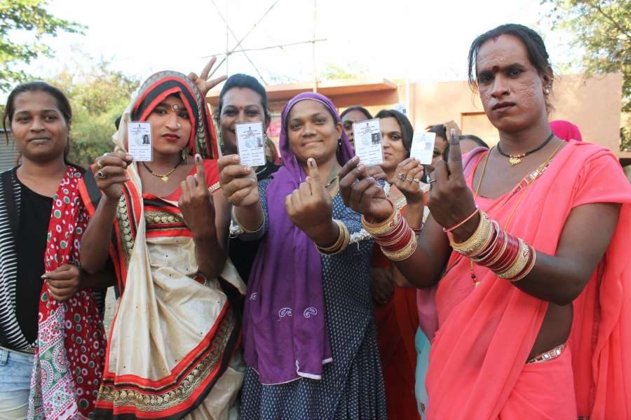 Nagpur: Transgenders show their forefingers marked with phosphorus ink after casting their votes during Nagpur Municipal Corporation polls on Feb 21,2017. (Photo: IANS) by .