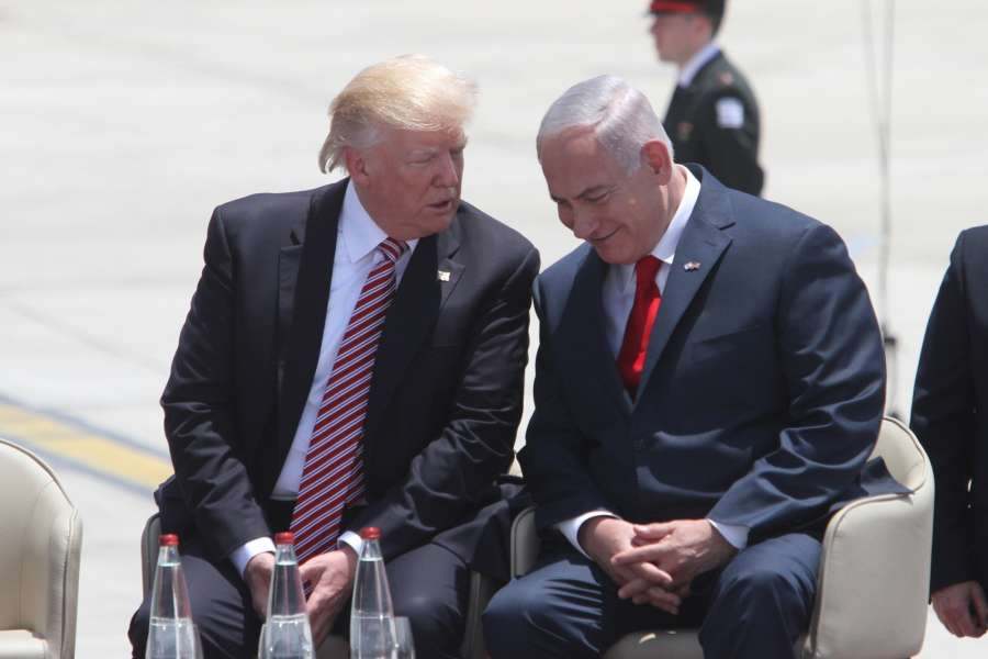 TEL AVIV, May 22, 2017 (Xinhua) -- U.S. President Donald Trump (L) speaks with Israeli Prime Minister Benjamin Netanyahu at Ben Gurion International Airport in Tel Aviv, Israel, on May 22, 2017. Trump has arrived in Ben Gurion Airport in Tel Aviv, kicking off his second leg of the Middle East visit in Israel and Palestine.(Xinhua/Gil Cohen Magen/IANS) (dtf) by .
