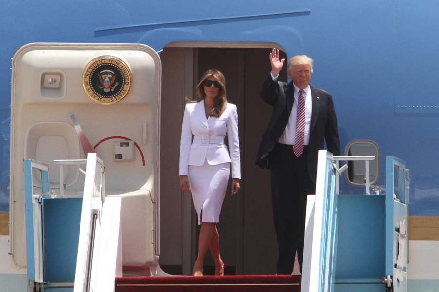 TEL AVIV, May 22, 2017 (Xinhua) -- U.S. President Donald Trump (R) and First Lady Melania Trump walk out of the Air Force One at Ben Gurion International Airport in Tel Aviv, Israel, on May 22, 2017. Trump has arrived in Ben Gurion Airport in Tel Aviv, kicking off his second leg of the Middle East visit in Israel and Palestine. (Xinhua/Gil Cohen Magen/IANS) (dtf) by .