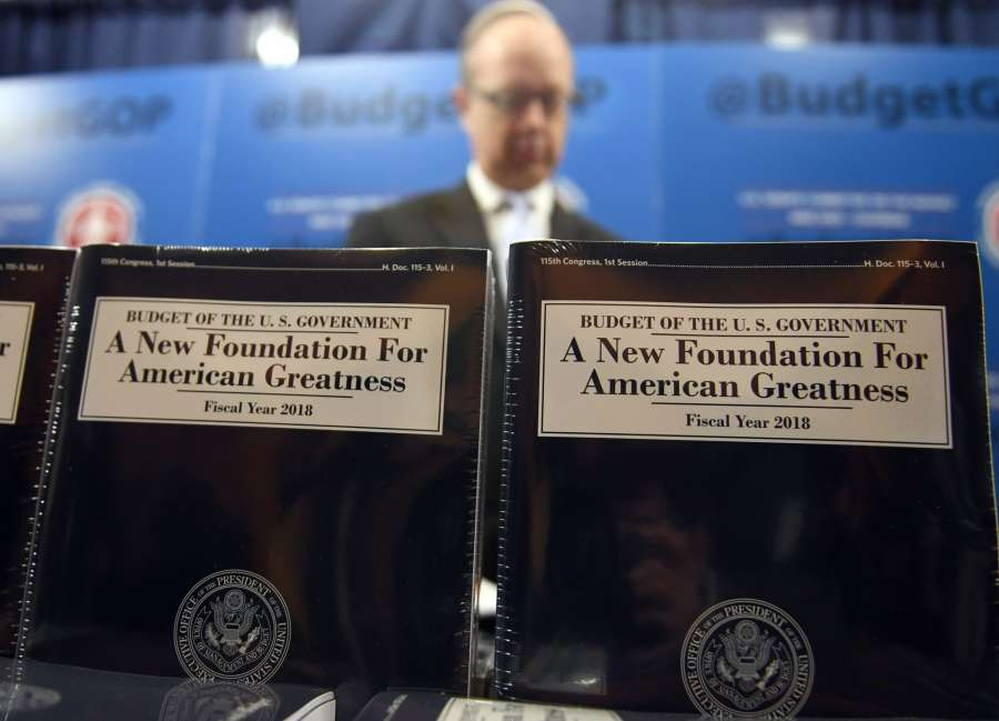 WASHINGTON, May 23, 2017 (Xinhua) -- Copies of President Donald Trump's fiscal 2018 federal budget are seen on Capitol Hill in Washington D.C., May 23, 2017. The Trump administration on Tuesday unveiled its first full budget that would cut 3.6 trillion U.S. dollars in government spending over the next 10 years to balance the federal budget. (Xinhua/Yin Bogu/IANS) by .