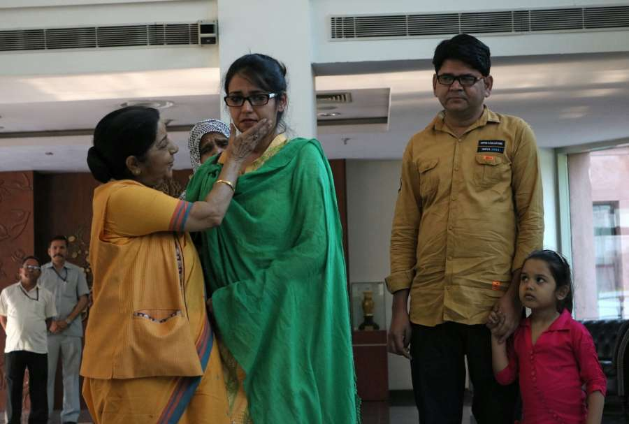 New Delhi: External Affairs Minister Sushma Swaraj with Uzma Ahmed, who alleged she was forced to marry a Pakistani man in New Delhi, on May 25, 2017. (Photo: IANS) by .