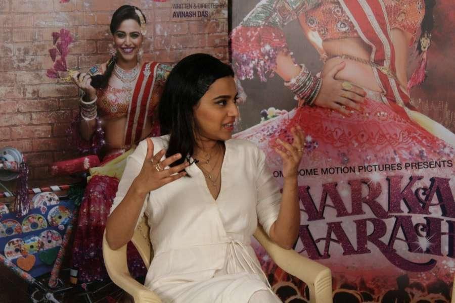 Mumbai: Actress Swara Bhaskar during the Promotional Interview of film