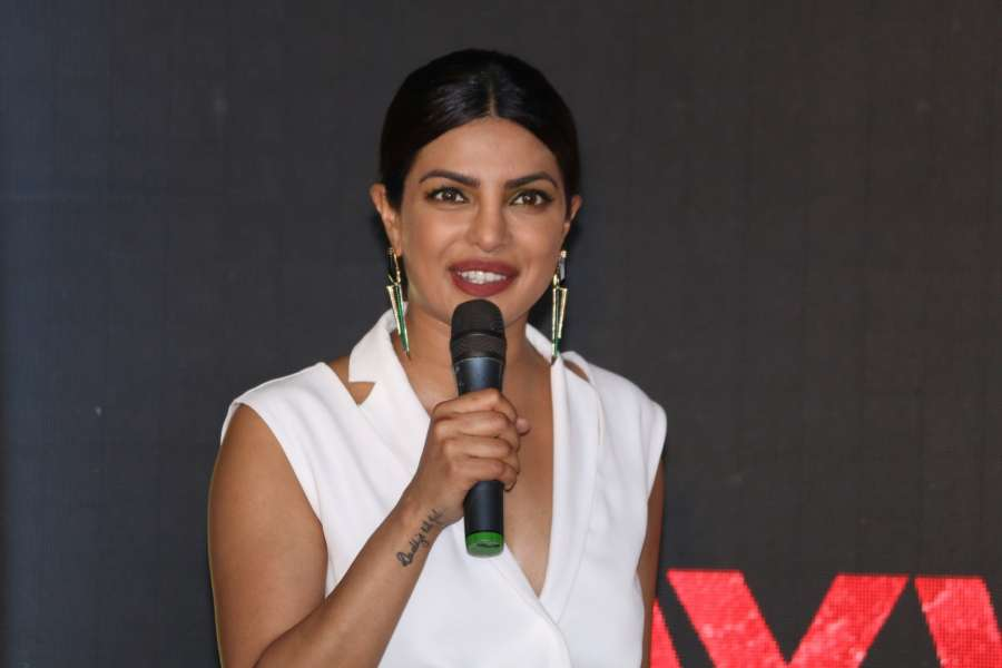 "Mumbai: Actress Priyanka Chopra during the promotional interview of upcoming film ""Baywatch"" in Mumbai on April 26, 2017. (Photo: IANS) by ."