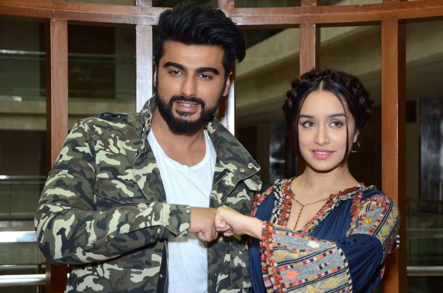 "Jaipur: Actors Arjun Kapoor and Shraddha Kapoor a press conference to promote their upcoming film ""Half Girlfriend"" in Jaipur on May 13, 2017. (Photo: Ravi Shankar Vyas/IANS) by ."