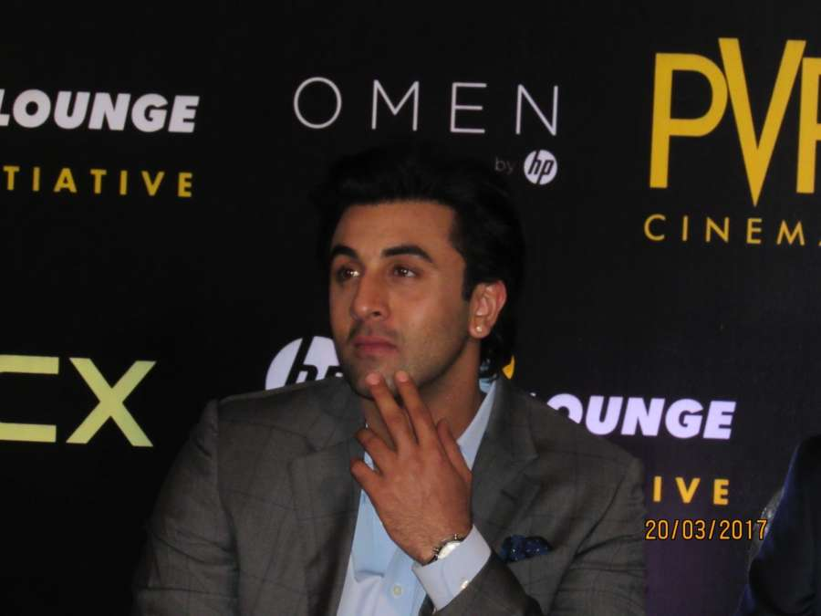 Noida: Actor Ranbir Kapoor during the inauguration of PVR Cinemas's HP virtual reality lounge at PVR ECX, Mall of India in Noida on March 20, 2017. (Photo: IANS) by .