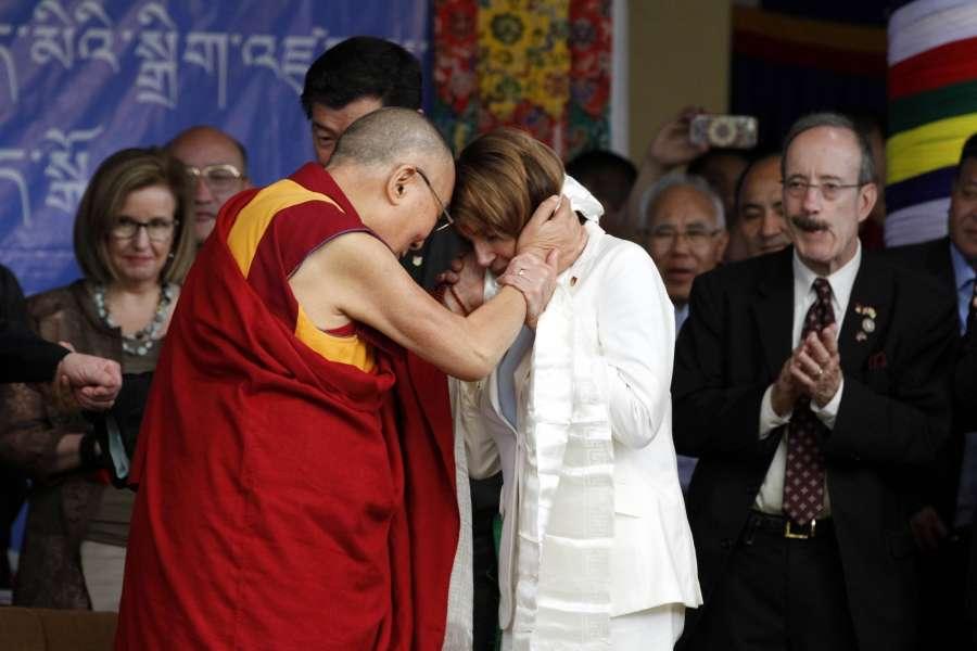 Dharamsala: Democratic leader Nancy Pelosi meets Tibetan spiritual leader, the Dalai Lama at Tsugla Khang temple in Dharamsala on May 10, 2017. (Photo: IANS) by .