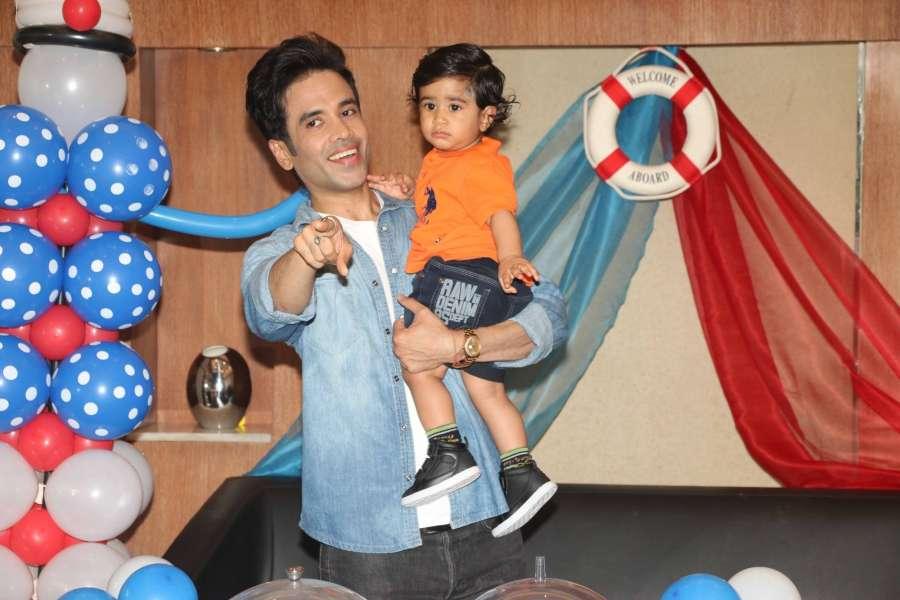 Mumbai: Actor Tussar Kapoor celebrates his son Laksshay`s first birthday in Mumbai on June 1, 2017. (Photo: IANS) by .