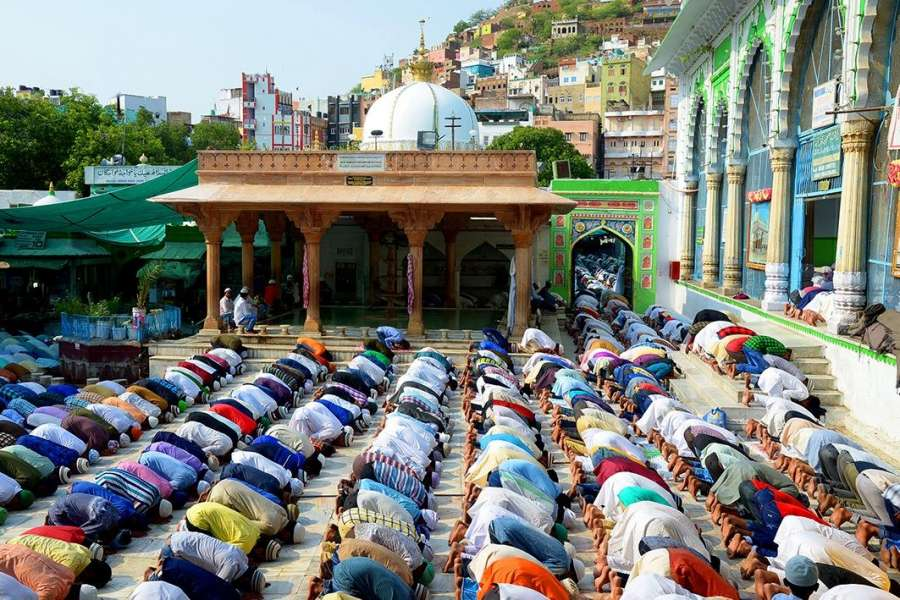 Ajmer: Muslims offer prayers on the occasion of Eid-ul-Fitr at Moinuddin Chishty Dargah in Ajmer on June 26, 2017. (Photo: Shaukat Ahmed/IANS) by .